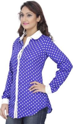 Alfa Fashion Women's Printed Casual Blue Shirt
