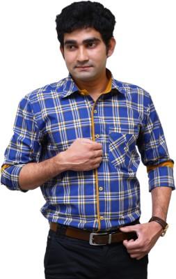 Benzoni Men's Checkered Casual Blue Shirt