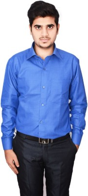 Culture Plus Men's Checkered Formal Blue, Blue Shirt