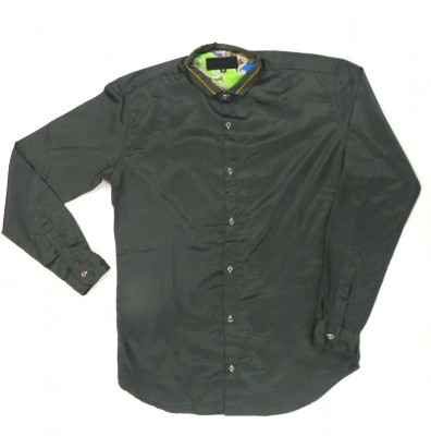ARCS Agencies Men's Solid Casual Black Shirt