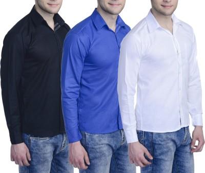 Aligatorr Men's Solid Formal White, Blue, Black Shirt