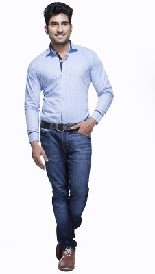 Jads Men's Printed Casual Blue, Red, Light Blue Shirt