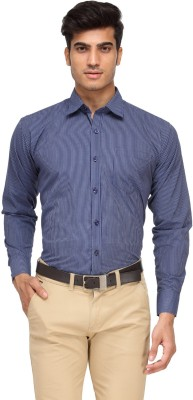 Vicbono Men's Striped Formal Blue Shirt