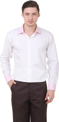 Roar and Growl Men's Solid Casual White Shirt