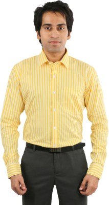 Desar Rana Men's Striped Formal Yellow Shirt