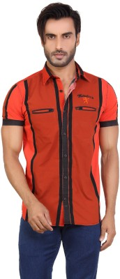Monarch Men's Striped Casual Orange Shirt