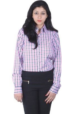 S9 Women's Checkered Casual Pink, Black, White Shirt