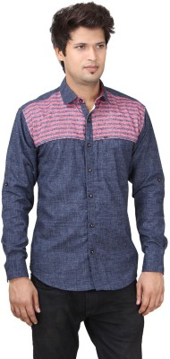 REFUEL SPORT Men's Solid Casual Blue Shirt