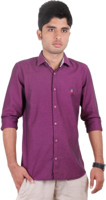 West Flax Men's Solid Casual Purple Shirt