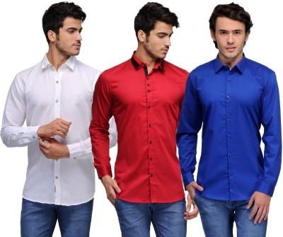 Feed Up Men's Solid Casual White, Red, Blue Shirt