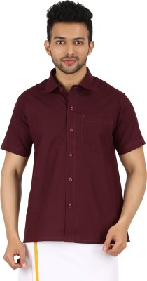 MEENAVISION Men's Solid Formal Maroon Shirt