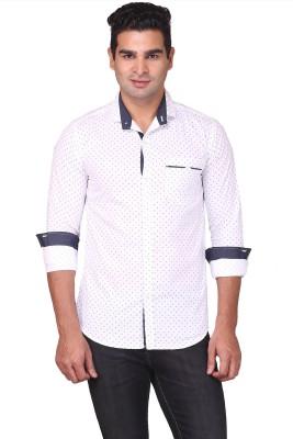 Human Steps Men's Printed Casual White Shirt
