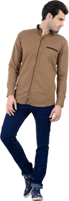 Piccolo Clothings Men's Solid Casual Brown Shirt