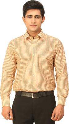Seven Days Men's Striped Formal Yellow, Maroon Shirt