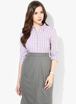 Annabelle Womens Checkered Formal Pink Shirt