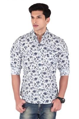 Vintage Soul Men's Printed Casual Linen White Shirt