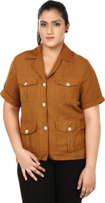 Eves Pret A Porter Womens Solid Casual Linen Brown Shirt