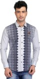 Glabrous Men's Printed Casual White Shir...
