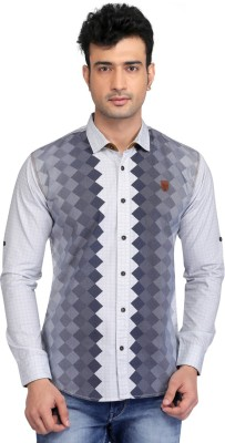 Glabrous Men,s Printed Casual White Shirt