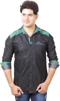 Aedi Men's Solid Casual Denim Black Shirt