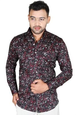 Fabrobe Men's Printed Casual, Festive, Wedding, Party Black Shirt