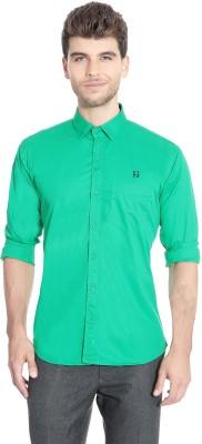Flyjohn Men's Solid Casual Green Shirt