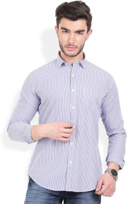 Urban Attire Men's Striped Casual White Shirt