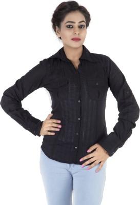 Kashana Fashions Women's Solid Casual Black Shirt