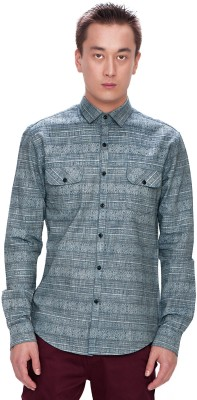 Srota Men's Printed Casual Blue Shirt