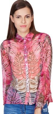 American Swan Women's Printed Casual Pink Shirt