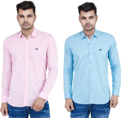 Stylox Men,s Solid Casual Pink, Blue Shirt