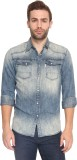 883 Police Men's Solid Casual Blue Shirt