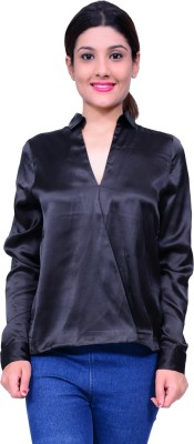 Lamora Women,s Solid Casual Black Shirt