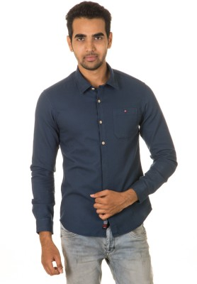 West Vogue Men's Solid Casual Dark Blue Shirt