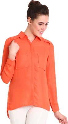 SOIE Women's Solid Casual Orange Shirt