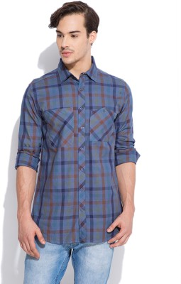 Silly People Men's Checkered Casual Blue Shirt