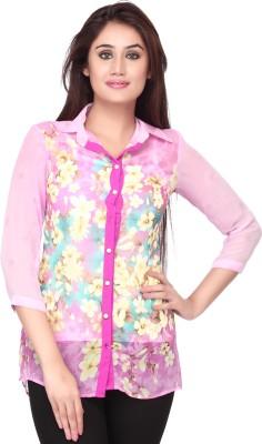 Goddess Women Women's Floral Print Casual Pink Shirt