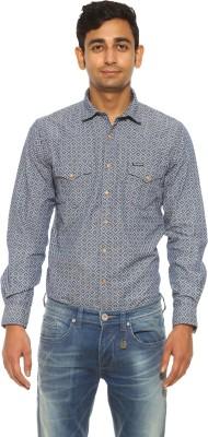 Pepe Jeans Men's Printed Casual Blue Shirt