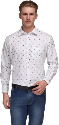 Ausy Men's Printed Casual White, Blue Shirt