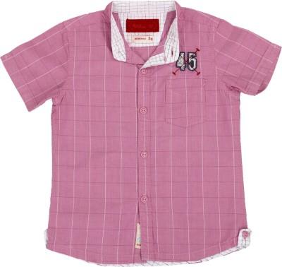 Einstein Boy's Checkered Casual Pink Shirt