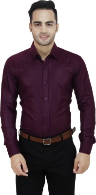 LEAF Men's Solid Formal Maroon Shirt