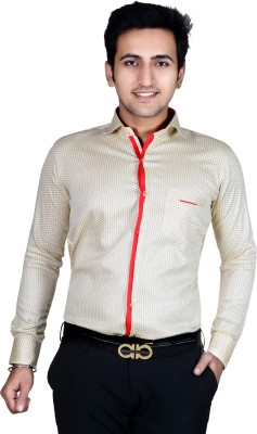AAAyz Men's Polka Print Casual, Party Beige Shirt