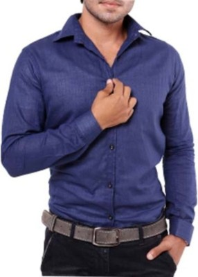 Aaral Men's Solid Casual Blue Shirt
