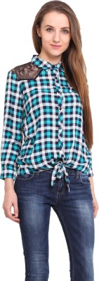 Ama Bella Women's Checkered Casual Blue Shirt