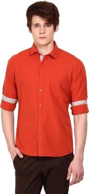 I-Voc Men,s Solid Casual Orange Shirt