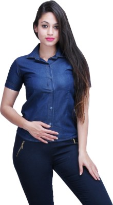 FX Jeans Co Women's Solid Casual Denim Blue Shirt