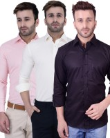 Lee Formal Shirts (Men's) - Lee//Marc Men's Solid Formal Multicolor Shirt(Pack of 3)