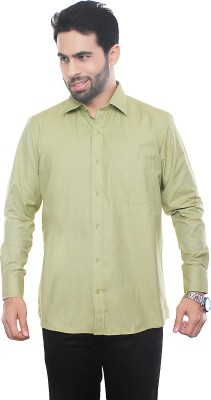 VinaraTrends Mens Solid Formal Green Shirt