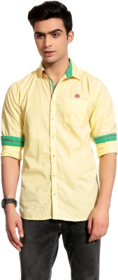 Cotton Crus Men,s Solid Casual Yellow Shirt