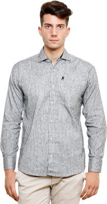 Ebry Men's Striped Casual White, Grey Shirt